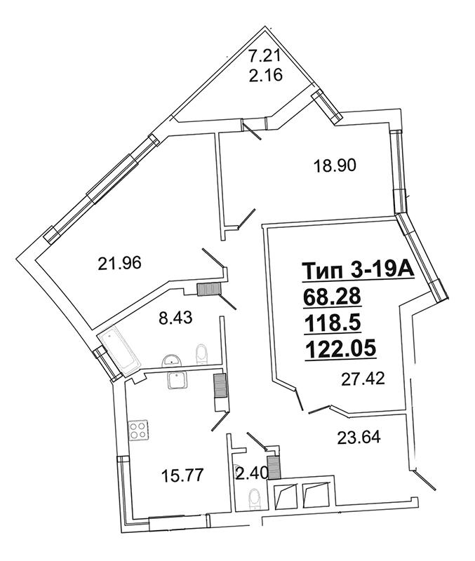 Планировка Трёхкомнатная квартира площадью 115.7 кв.м в ЖК «Собрание»