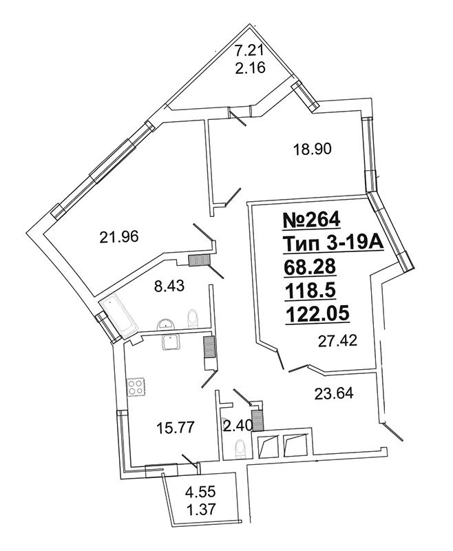 Планировка Трёхкомнатная квартира площадью 117.6 кв.м в ЖК «Собрание»