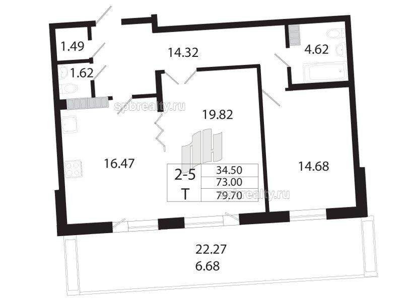Планировка Двухкомнатная квартира площадью 72.4 кв.м в ЖК «Собрание»
